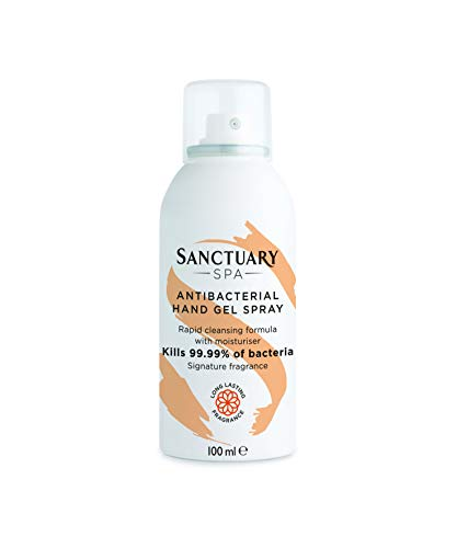 Sanctuary Spa Hand Sanitiser Spray, 70 Percent Alcohol Antibacterial Hand Gel Spray, Hand Hygiene 2 in 1 Sanitizer and Moisturiser, Kills 99.9 Percent Bacteria, Vegan, Signature Sanctuary Scent, 100ml