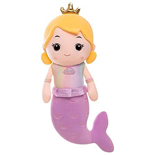 Sirena Brillante muñeca de Peluche Princesa Corona Sirena Juguete de Felpa decoración de Fiesta niños niña cumpleaños Vacaciones Regalo 40 CM púrpura
