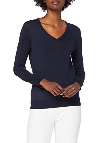 Amazon-Marke: MERAKI Merino Pullover Damen mit V-Ausschnitt, Blau (Navy), 40, Label: L