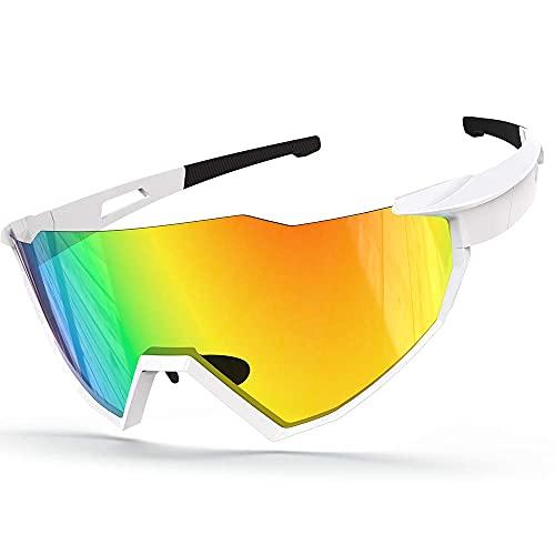 Gafas de sol polarizadas para ciclismo, UV400 ligeras polarizadas con marco irrompible para hombres y mujeres, para correr, conducir y pescar (blanco)
