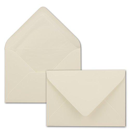 50 Briefumschläge in Naturweiss mit weißem Innenfutter - Farbige Kuverts in DIN B6 Format - 12,5 x 17,6 cm - Seidenfutter - Nassklebung