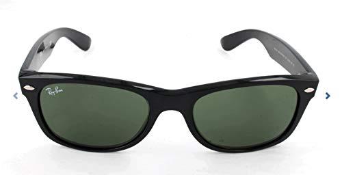 Ray Ban RB2132 Wayfarer Sunglasses-622/58 Rubber Black/Polarized Green Lens-55mm