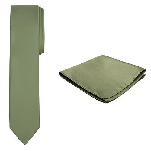 Jacob Alexander Solid Color Men's Skinny Tie and Hanky Set - Green Olive