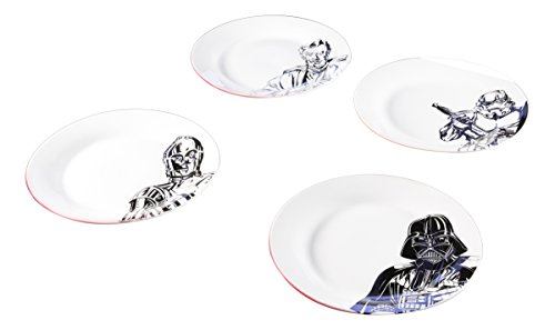 Zak Designs SWRR-4411 Star Wars Melamine Plates, Ep4 7.5in 4pc, C3P0, Stormtroop...