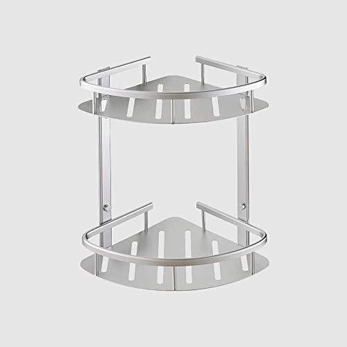 Estantes de baño Allshiny Estante de esquina de ducha de ba?o de 2 niveles Soporte de almacenamiento de carrito de ducha montado en la pared Soporte de almacenamiento de aluminio para espacio a prueba