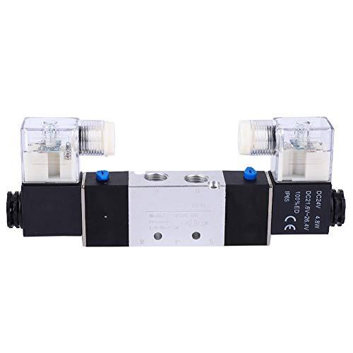 Válvula electromagnética neumática Aluminio 2 posiciones 5 vías Válvula de interruptor Control de flujo de aire Válvula eléctrica(DC24V)