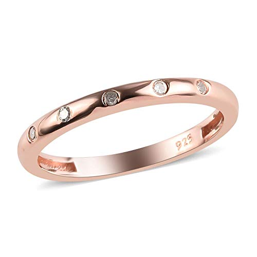 TJC Genuine White Diamond 925 Sterling Silver Rose Gold Plated Wedding Band Ring for Women & Girls Size P, 0.05 ct