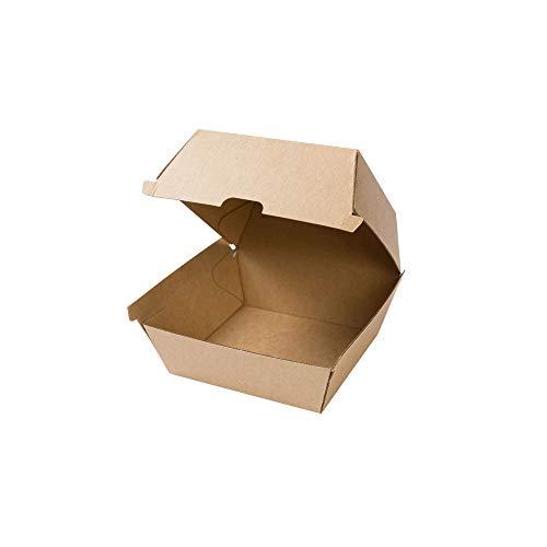 BIOZOYG Take Away Burger Box 50 Stück I robuste Burgerboxen mit hohem Klappdeckel I Hamburger Box aus Kraftkarton I stabile to Go Burger Verpackung 13 x 14 x 8 cm I biologisch abbaubar