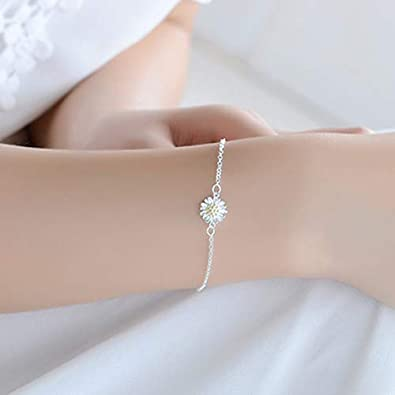 pengyu Womens Elegant Silver Plated Little Daisy Charm Beach Bare Foot Anklet Jewelry