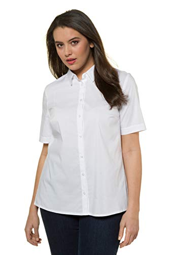 Ulla Popken Mujer grandes tallas hasta 60 | Blusa de manga corta, de negocios, parte superior de media manga con botones | Cuello de camisa y aberturas laterales | 714169 Blanco