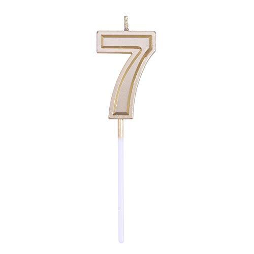 Toyvian Brillo dorado Feliz cumpleaños Numeral Velas Número Velas Decoración de la torta para adultos Fiesta infantil (Número 7)