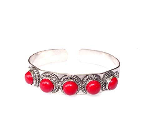 India Jewel Store Handgemachtes authentisches rotes Korallen-Edelstein verstellbares Mode-Armband für Frauen Modernes Manschettenarmband 925 versilbert Einzigartiges Mode-Armreif