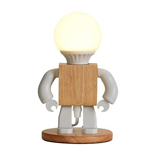 Augu Robot Creativo Lámpara De Mesa Nórdica De Madera Maciza Lámpara De Escritorio Decorativa LED Noche Dormitorio Iluminación De Noche E27 Dormitorio Estudio Oficina Lámpara De Lectura