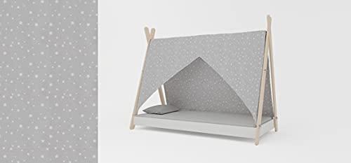 Meblex Cama tipo tipi para niños en madera natural, para niñas y niños, tamaño 160 x 80 cm, color blanco y verde estrellas, marco blanco Todler