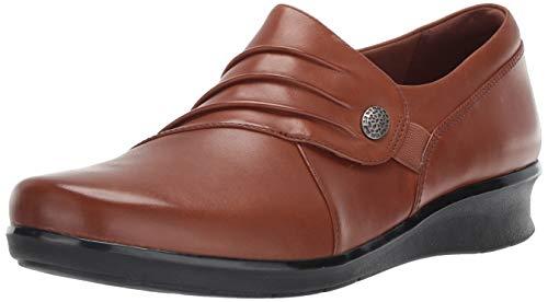 Clarks Women's Hope Roxanne Loafer, Dark tan Leather, 9 W US