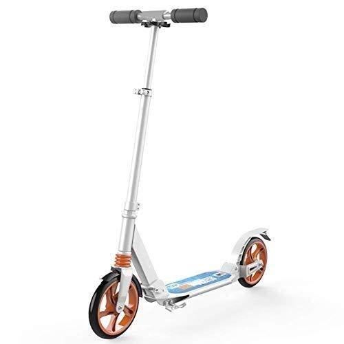 WJJ Patinetes Para Niños Montar portátil al aire libre Vespa-kick scooter plegable for adulto adolescente, ruedas grandes Velero con doble suspensión, altura ajustable, 220 libras de capacidad, blanca