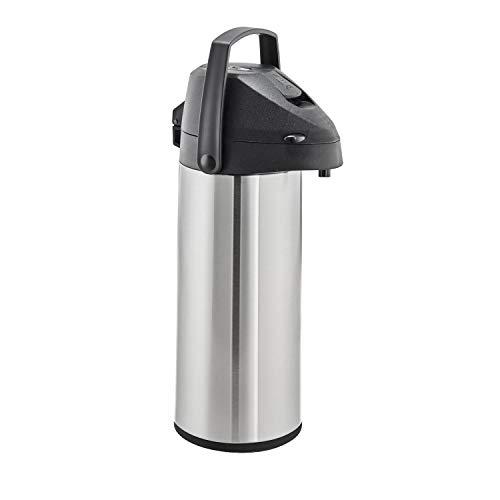 Steinbach Getränkespender Watut | ca. 1,8 l | Edelstahl rostfrei | Pumpsystem mit Drucktaste | Tragegriff hochklappbar | Pumpkanne | Isolierkanne