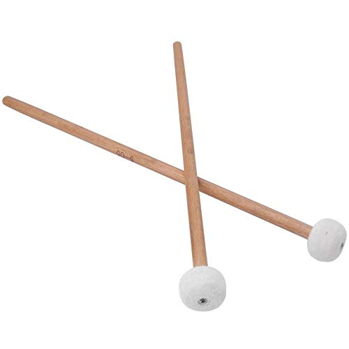 Jacksking Drum Mallets Sticks 2Pcs Mallet Percussion Drum Mallet Hammer White Felt Timpani Snare Dru