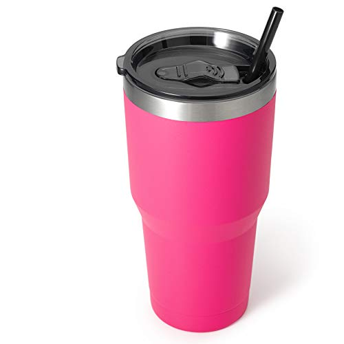 Zibtes 30oz Insulated Tumbler With Lids and Straws, Stainless Steel Double Vacuum Coffee Tumbler Cup, Powder Coated Travel Mug for Home, Office, Travel, Party (Hot Pink, 1 pack)