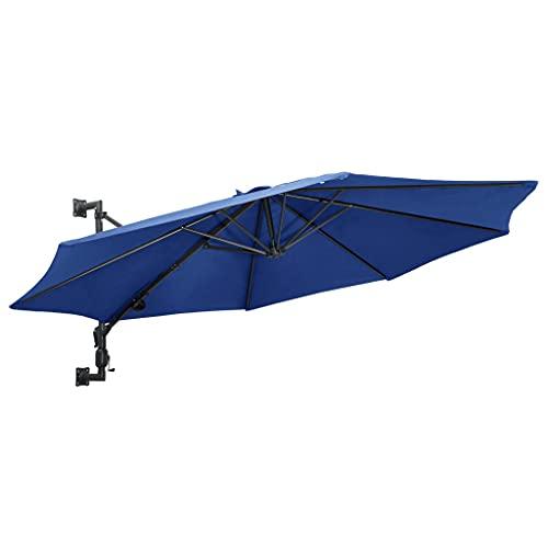 YueStar Sombrilla de pared con barra de metal 300 cm, color azul