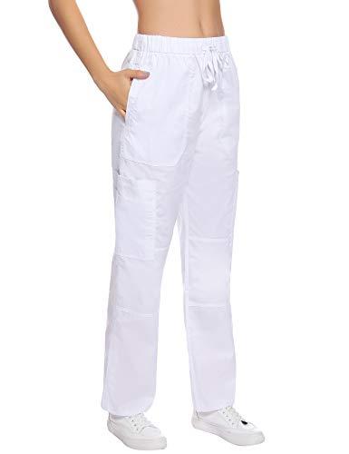 Aibrou Damen Medizinische Schrubb Hosen Kleidung Laborkleidung Schwesternhose Schlupfhose Krankenhaus Uniformhose Arbeitskleidung Bundhose mit Kordelzug