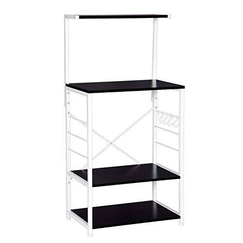 WOLTU Estantería de cocina con 3 escalera metálico estante de almacenamiento soporte de planta para Organizar Cocina Baño Salón 60x40x123cm Blanco + Negro RGB9285sw
