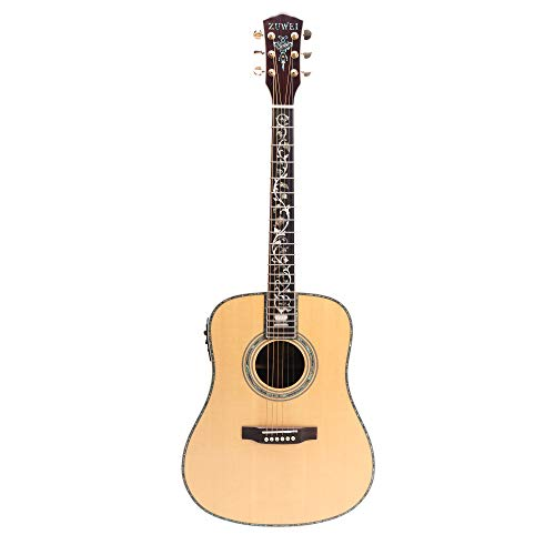 ZUWEI 41in Handmade Electric Acoustic Guitar Life Flower Solid Spruce Top Rosewood Backside Abalone Inlay, Grover Tuner Lower Action Bone Nut& Saddle Free Hardcase Gloss Finish Gold Hardware