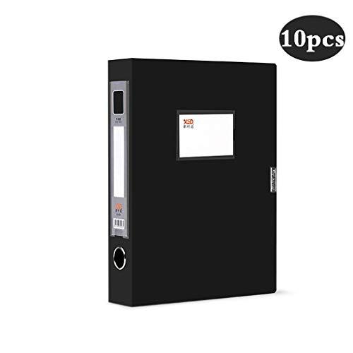 10 stks Archives Cases File Office benodigdheden Plastic Doos, A4 File Box Organizer Plastic Met Deksel, Opslagmap Opbergdoos, Zwart