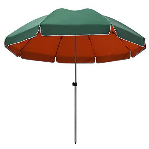 ACXZ Sombrilla de Patio de 2,4 m, sombrilla de jardín, Parasol de Mesa al Aire Libre para Piscina/césped, terraza, balcón, Playa, sombrilla de Mercado Redonda pequeña, Azul/Verde, 2.6m