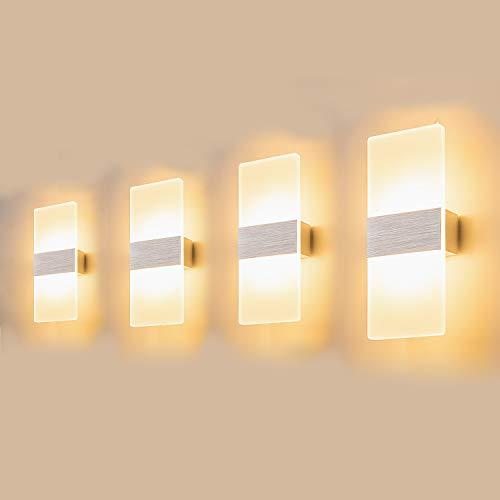 Yafido 4 packs 12W Aplique Pared Interior LED 3000K Blanco Cálido Lámpara de Pared Moderna AC 220V Plata Cepillado para Salon Dormitorio Sala Pasillo Escalera