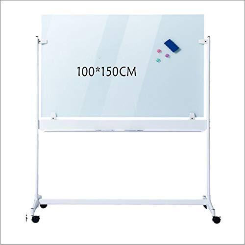 DLSMB-OF Tableau Blanc Portable magnétique effaçable à Sec avec 10 stylos effaçables 1 Gomme 3 Boucles magnétiques, Alliage d'aluminium, Blanc, 100x150cm