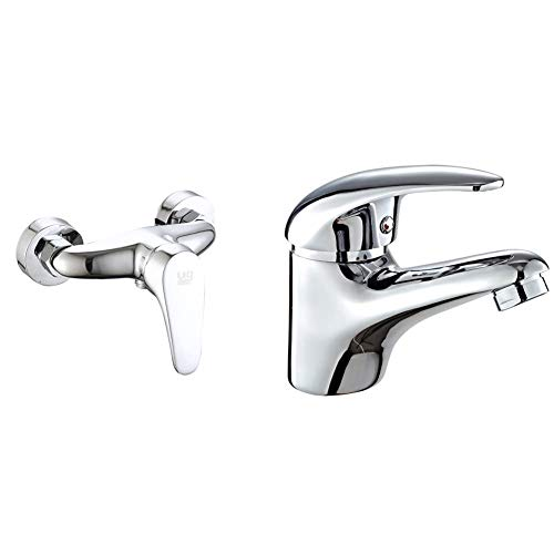 DP Grifería Grifo monomando de ducha serie Limonero color plateado + Grifo monomando de lavabo, color plateado, serie Naranjo