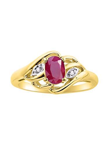 RYLOS Simply Elegant Beautiful Red Ruby & Diamond Ring - July Birthstone