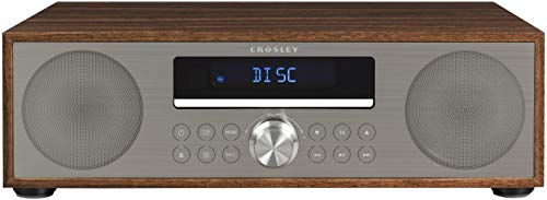 Crosley CR3501A-WA Fleetwood Bluetooth FM Clock Radio and CD Player, Walnut
