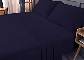 Luxury Bed Sheet Set - Bamboo derived from Rayon, Eco-Friendly, Non-allergenic, Wrinkle Free, Cooling, Ultra Soft Deep, Shrink Resistant, Deep Pocket Bedding Sheets - 4 Piece Set (Navy, King)