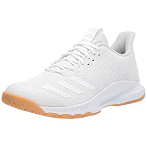 adidas Women's Crazyflight Bounce 3 Volleyball Shoe, White/White/Gum, 8 M US