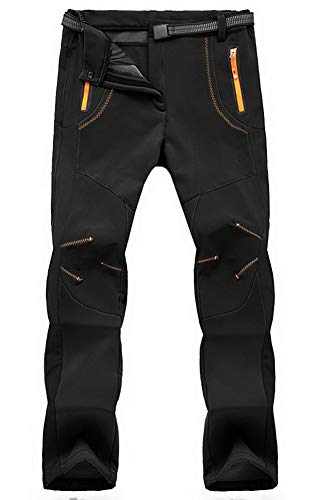 TBMPOY Men's Quick Dry Belted Waterproof Softshell Fleece Ski Pants(02 Thick Black,us M)