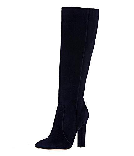 YOWAX Mujeres Botas Franela Zapatos de tacón Alto Atractivos del talón Grueso Delgado para Office Partido de tarde-EU37