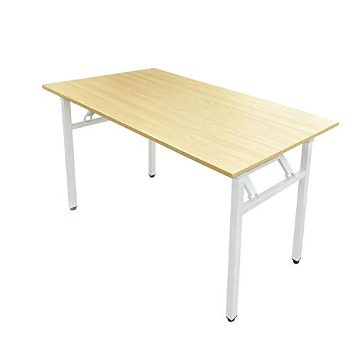 Requena Folding Computer Desk Office Study Desk Computer PC Laptop Table Workstation Table for Home Office (Beech-White-A)