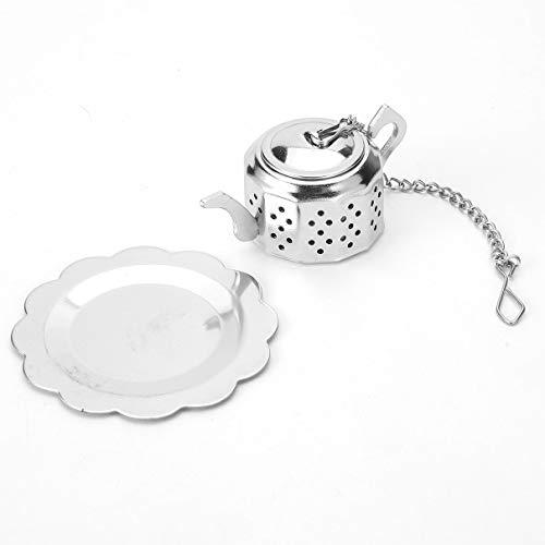 Praktische Nette Durable 304 Edelstahl Teekanne Tee-Ei Spice Drink Sieb Kräuterfilter + Tablett