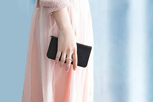 耐久性があり、高級感あるサフィアーノレザー調のスマホケース。落下防止のリングが黒い生地に映えてまるで指輪をしているかのようにおしゃれ。リングは手帳の留め具にもなる上、スタンド機能もあり、ポケットも豊富で利便性もばっちりです。
