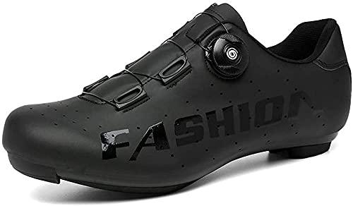 KUXUAN Zapatos de Ciclismo de Carretera para Hombre, Zapatos de Pelotón con Tacos de Montar en Bicicleta SPD Compatibles,Black-10UK=(270mm)=44EU