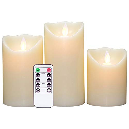 Eldnacele Flickering Flameless Candles Dancing Flame with Timer Remote Control 4 5 6 Inches Set of 3 Real Wax Pillar Battery Operated LED Candles Smooth Finish for Home Decoration and Weddings Parties