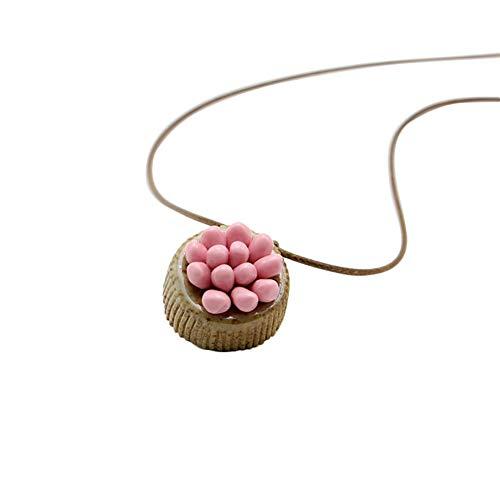 Tonpot Halskette, elegant, einfach, handgefertigt, weicher Ton, Keramik, für Geburtstag, Weihnachten, Frauen und Mädchen, Keramik, Rosa, 40-80cm