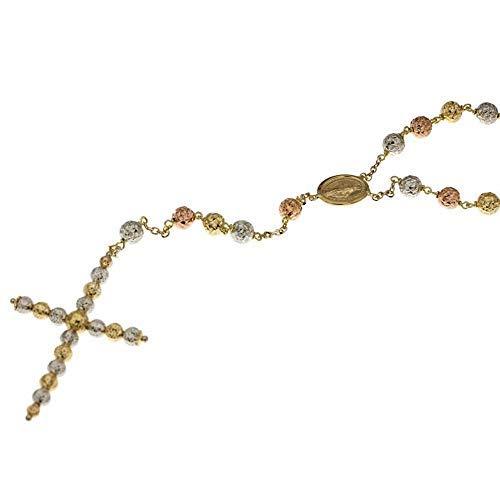 Collana Rosario In Oro Giallo, Bianco E Rosa 18 Kt 750/1000 Con Sfere Martellate Lunghezza 60 Cm