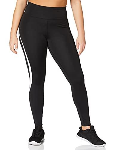 Marca Amazon - AURIQUE Mallas de Deporte Tiro Alto Mujer, Negro (Black/White), 40, Label:M