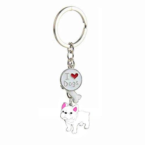 Keychains, Lovely Dog Key-ring Portable Metal Keychain Keyring Key Decor Car Keyring Tag (White French Bulldog)