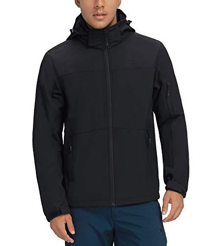 CAMELSPORTS Men's Waterproof Softshell Jacket Hooded Fleece Lined Rain Coat Windproof Lightweight Windbreaker Black