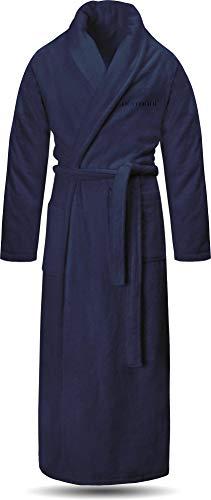 normani Extra Langer Bademantel aus 100% Bio-Baumwolle für Damen und Herren - Öko Tex 100 Farbe Marine Größe XL
