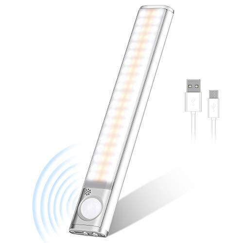 80 Led Schrankbeleuchtung mit Bewegungsmelder, LED Schrankleuchten Sensor Licht, Wiederaufladbar Schranklicht, Intelligente LED Küchenleuchte mit 3 Helligkeitsstufen für Küche,Kleiderschrank,Treppe